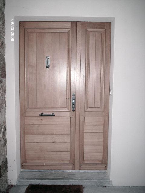 Porte d'entrée tiercé en chene panneaux isolés
