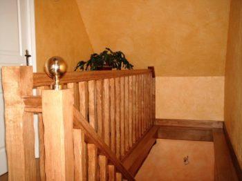 Retour de rampe type mezzanine en chêne balustres bois